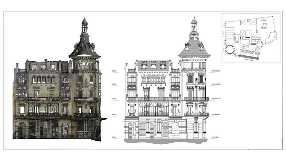 Plano de la Torre dos Moreno, situada en el casco histórico de Ribadeo