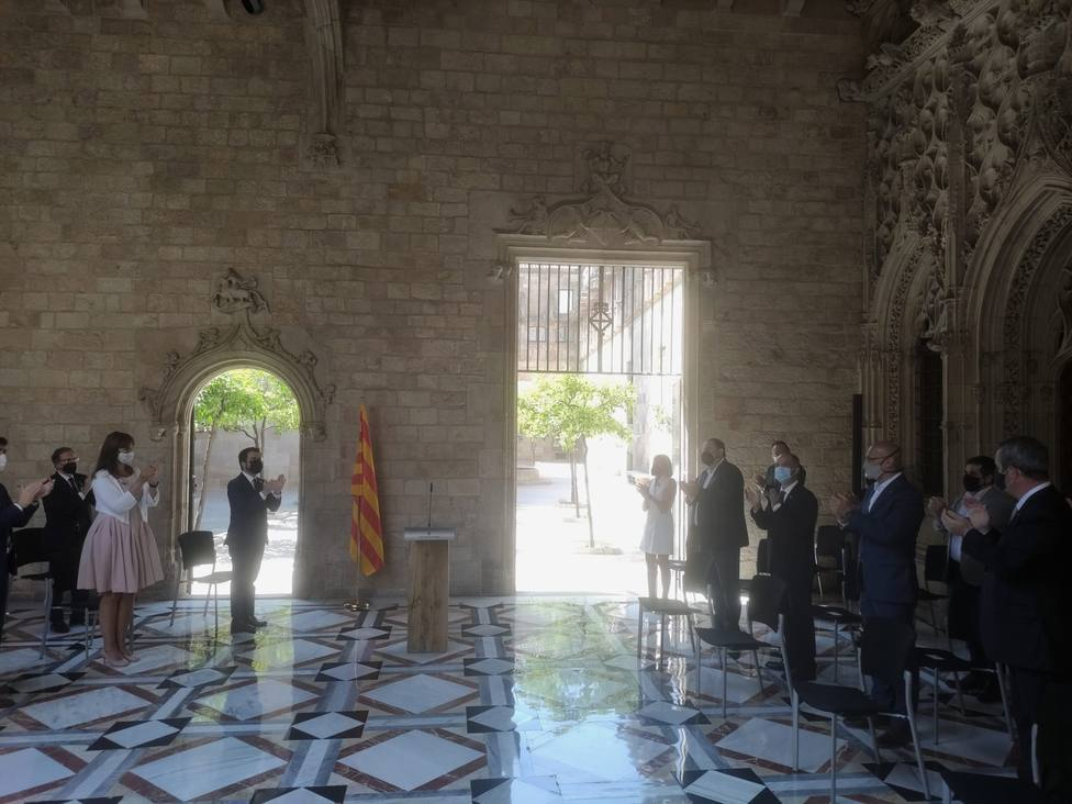 El Govern recibe a los indultados del procés en el Palau de la Generalitat