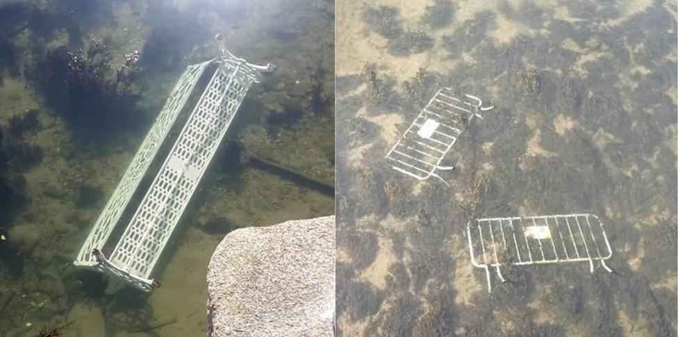 El banco y las vallas en el fondo del río Condomiñas - FOTO: Policía Local de Cedeira