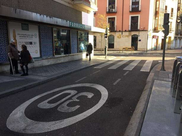 Calle del centro de Valladolid limitada a 30km/h
