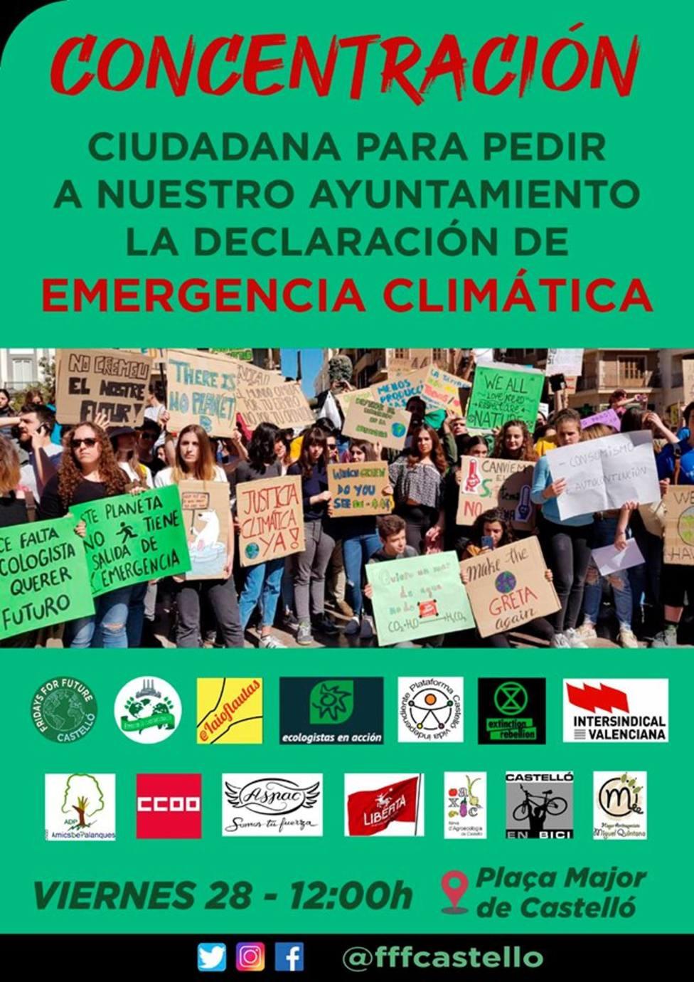 Concentración por el Medio Ambiente en Castellón de la Plana