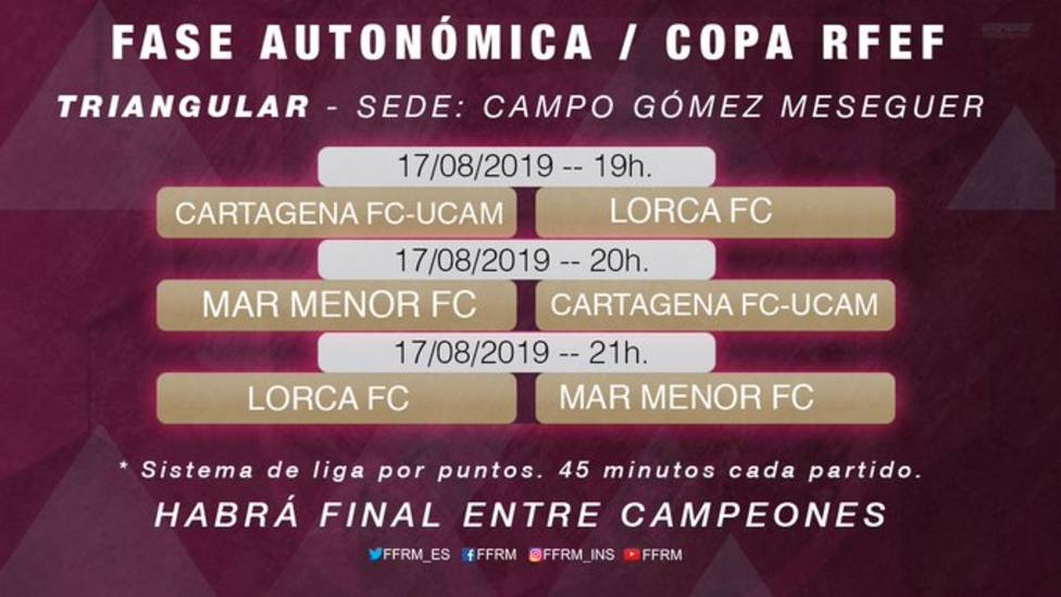 El Lorca FC luchará por acceder a la final de Copa Federación ante Cartagena FC y Mar Menor