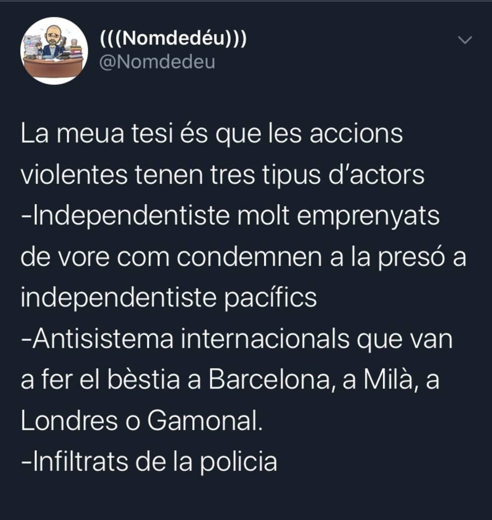Tweet de Enric Nomdedéu, secretario autonómico de Empleo de la Comunidad Valenciana