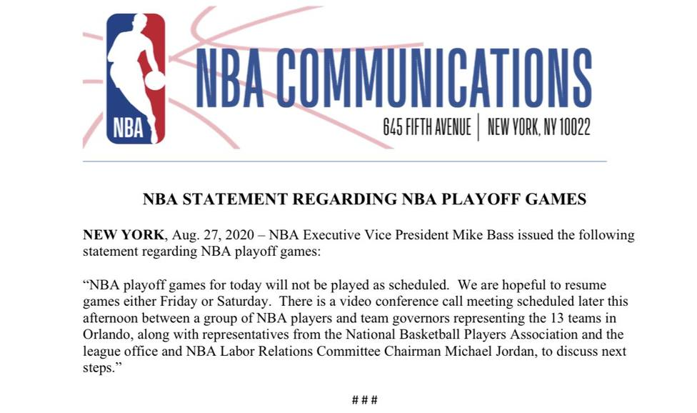 Los jugadores ponen fin al boicot a la NBA y deciden jugar los 'playoffs'
