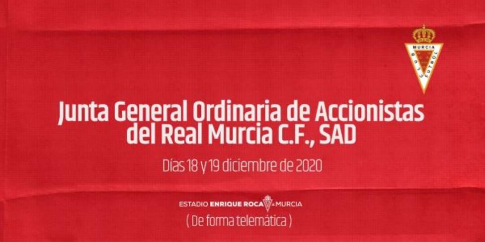 El Real Murcia convoca junta de accionistas para el 18 y 19 de diciembre