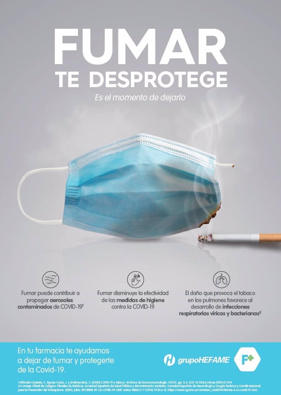 Cvirus.- Hefame recuerda a fumadores que son más vulnerables ante el Covid y lanza una campaña para ayudarles a dejarlo
