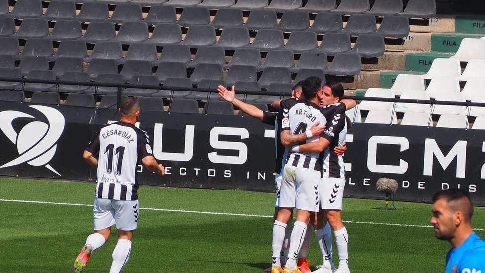 El Castellón celebra el gol de Ortuño que le dio la victoria ante el Mallorca