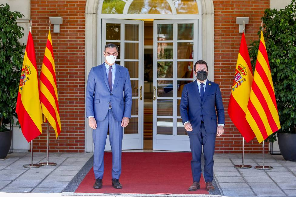 Sánchez y Aragonès ya están reunidos en la Moncloa