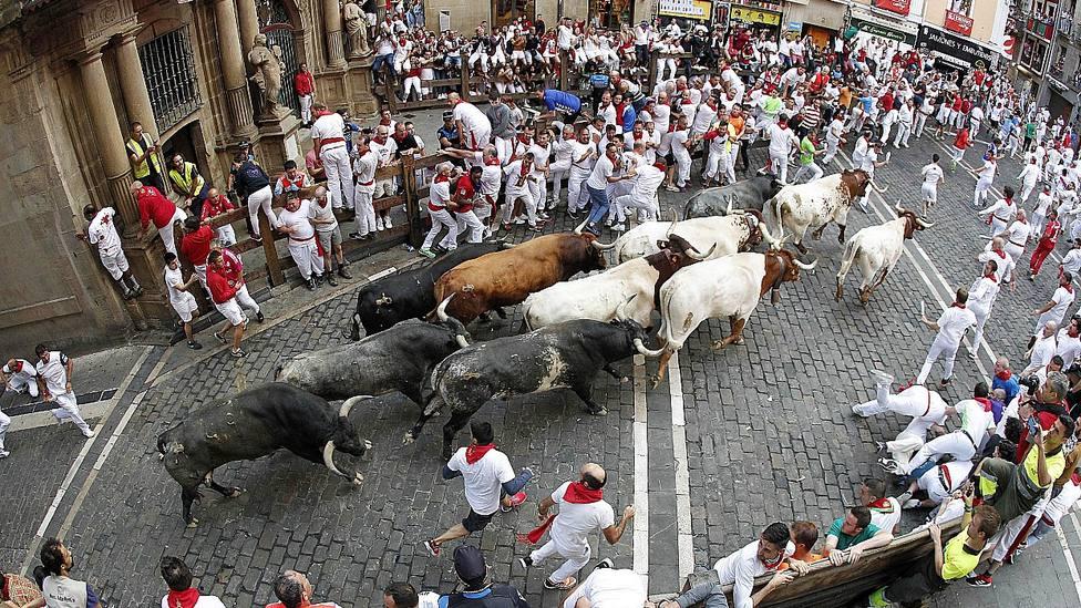 Imagen del último encierro celebrado en Pamplona el 14 de julio de 2019 con los toros de Miura