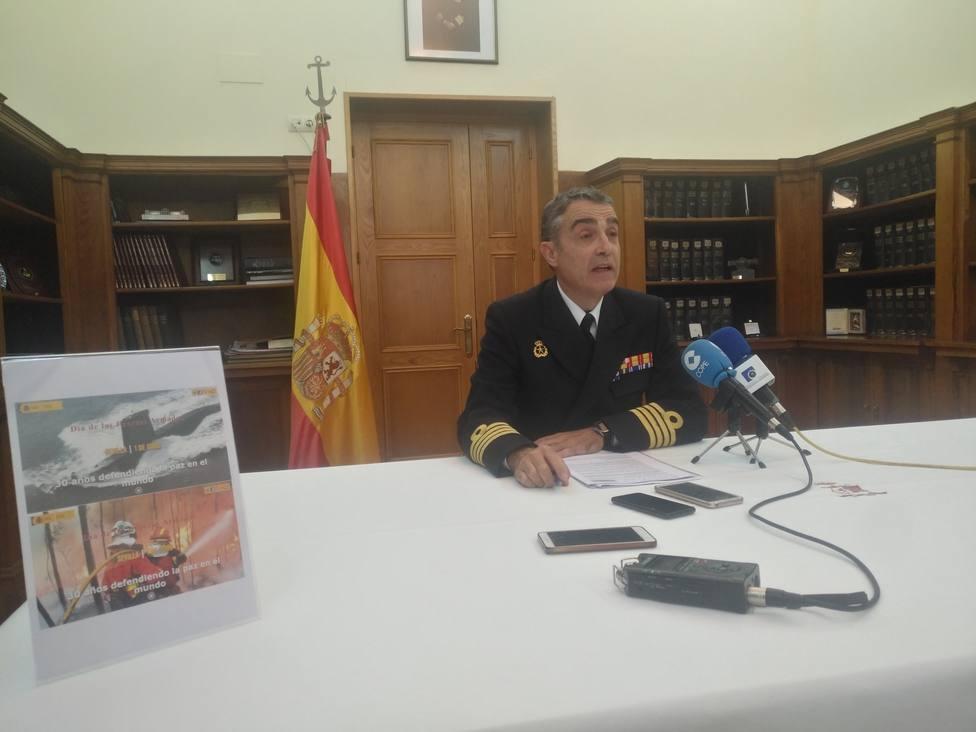 El capitán de navío Diego Villarejo durante la presentación de los actos