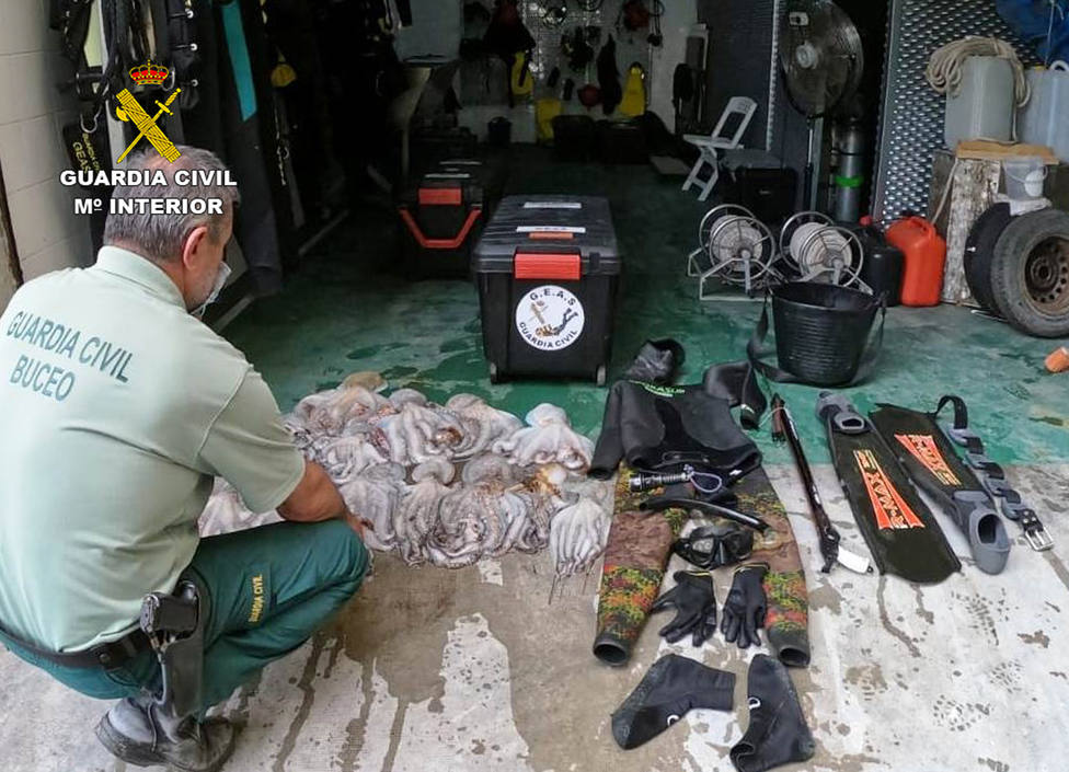La Guardia Civil sorprende a un pescador furtivo con más de 20 kilos de pulpo en época de veda
