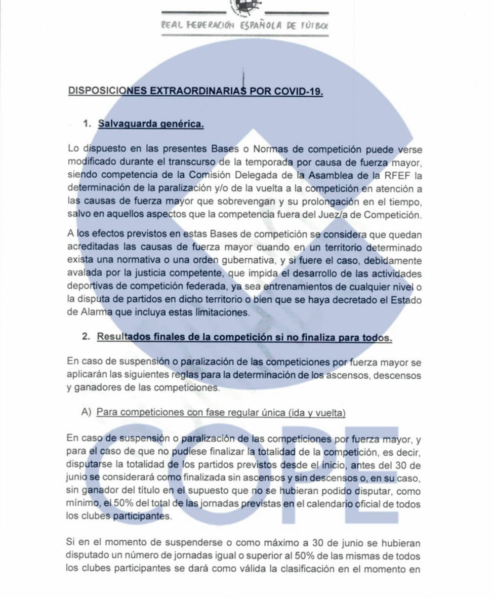 La RFEF remite qué pasaría si se suspende la competición y no pueden finalizar antes del 30 de junio