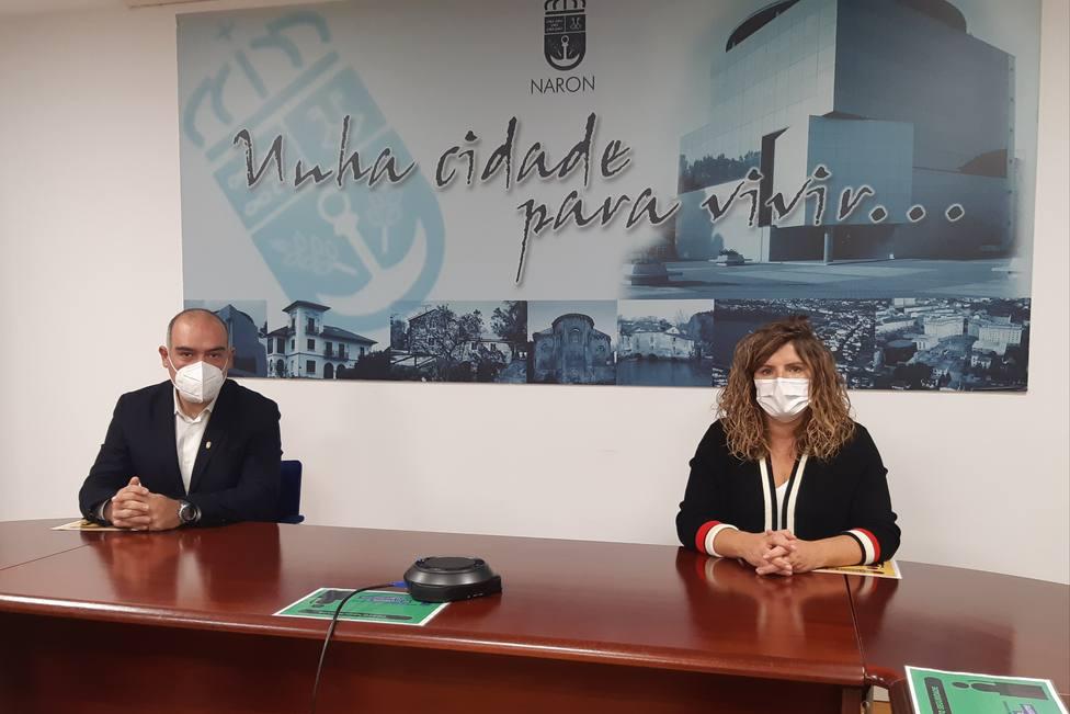 La alcaldesa Marián Ferreiro y el concejal David Pita. FOTO: Concello de Narón