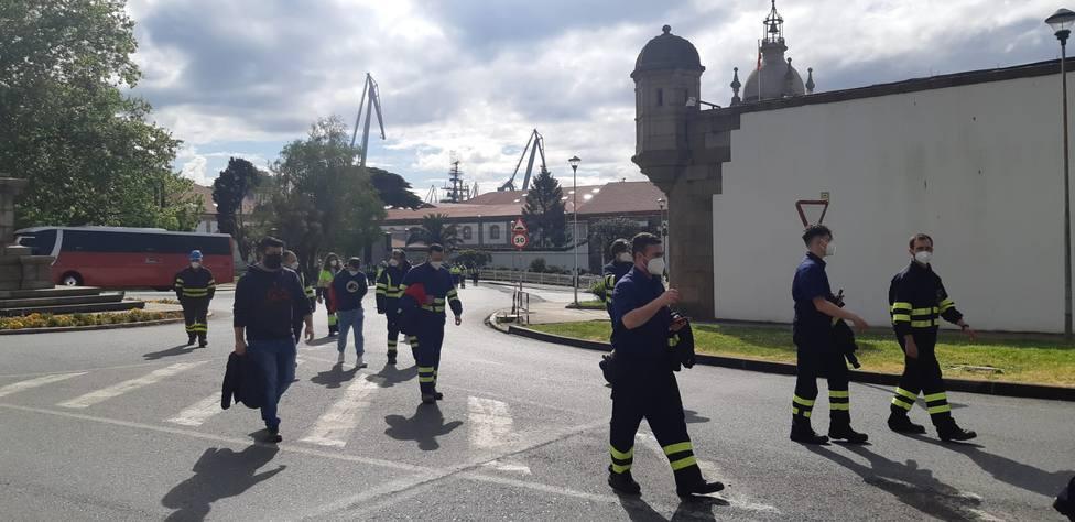 Los trabajadores de Navantia Ferrol y de la industria auxiliar en la plaza de Galicia - FOTO: Cedida