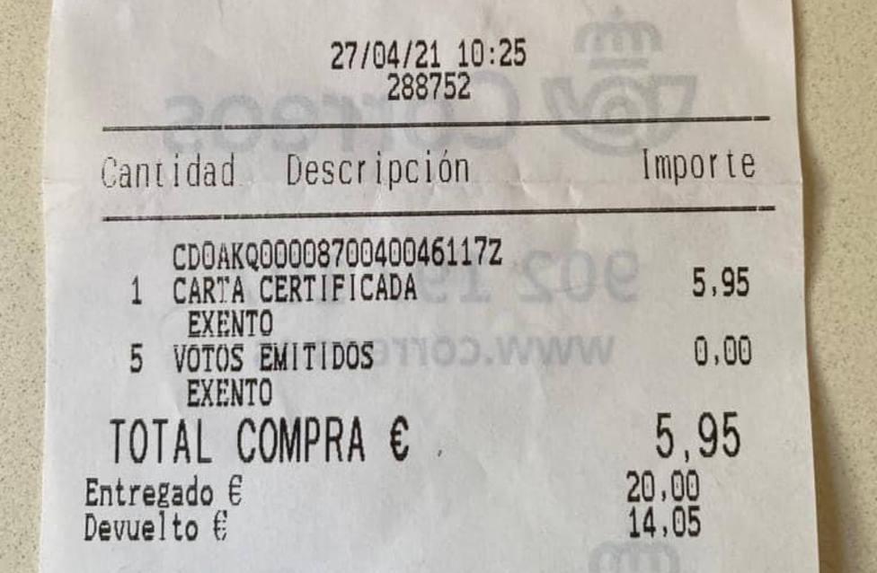 Ticket registrado en una oficina de Correos de Las Rozas