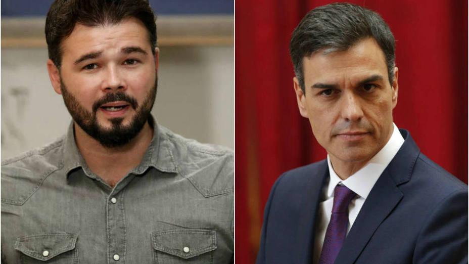 """Rufián estalla contra Sánchez por el """"chantaje"""" de un posible adelanto electoral"""