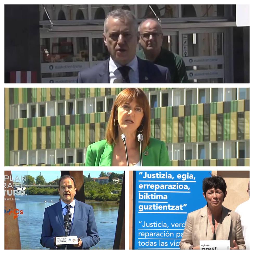 Los candidatos en los actos electorales de este martes