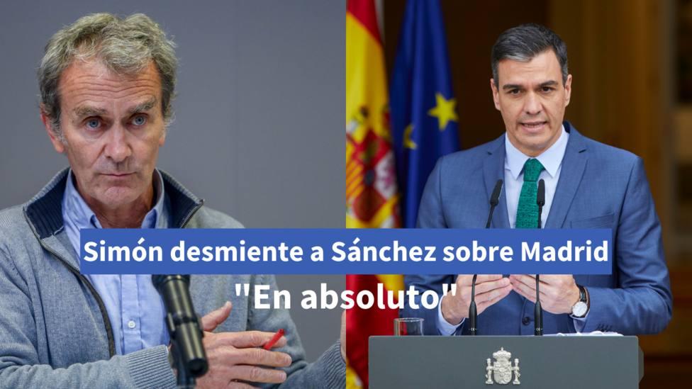 Simón desmiente a Sánchez sobre Madrid   FOTOS: Europa Press/ R.Rubio y J. Hellín