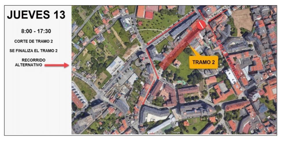 Actuaciones previstas para el jueves y sentido de circulación - FOTO: Concello de Ferrol