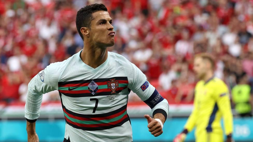 Cristiano Ronaldo celebra el gol ante Hungría