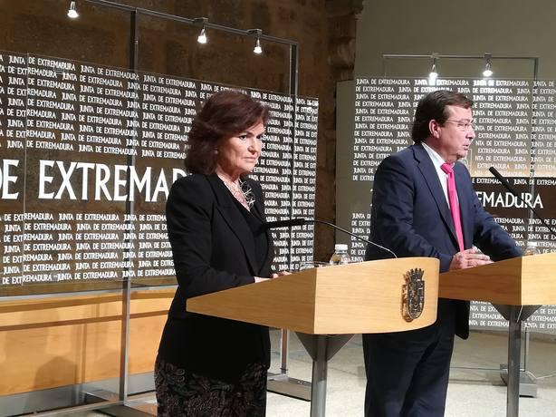 Carmen Calvo subraya la comprensión y compromiso del Gobierno con los problemas de Extremadura
