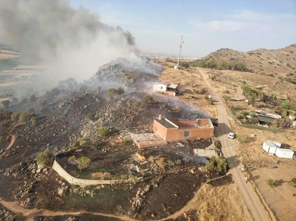 Edificaciones afectadas por el incendio declarado en Alange.