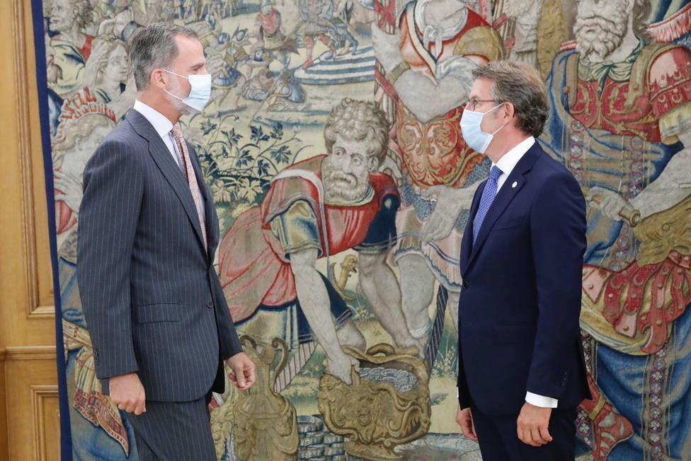 El rey, Felipe VI ha recibido al presidente de la Xunta, Alberto Núñez Feijóo en Zarzuela