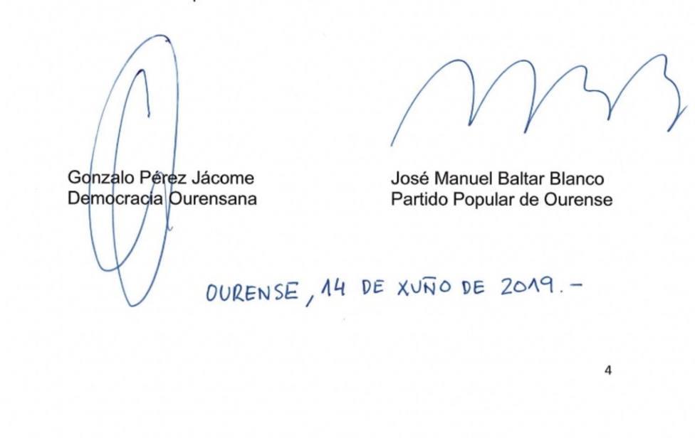 Jácome (DO) será alcalde de Ourense con los votos del PP a cambio de su apoyo a Baltar en la Diputación