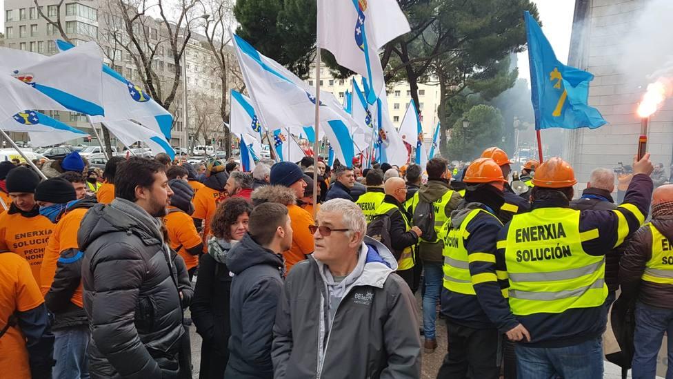 Manifestación de trabajadores de Alcoa en Madrid