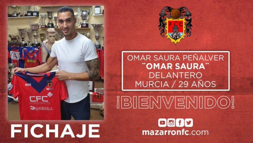 El Mazarrón CF ficha a Omar Saura, ex jugador del CF Lorca Deportiva y Lorca FC