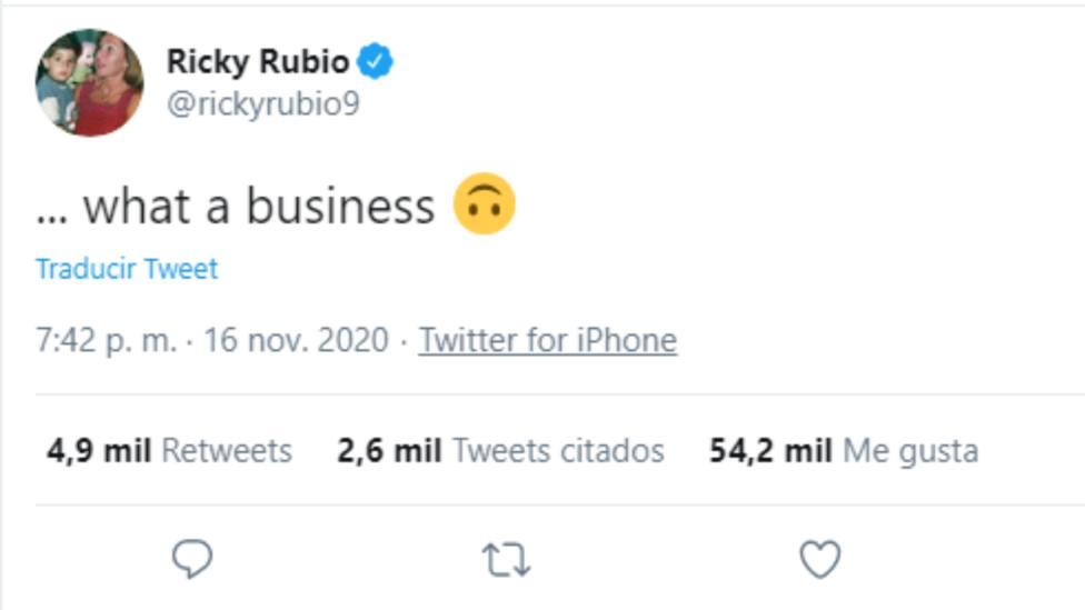 Ricky Rubio deja entrever su traspaso a Oklahoma a través de este tuit