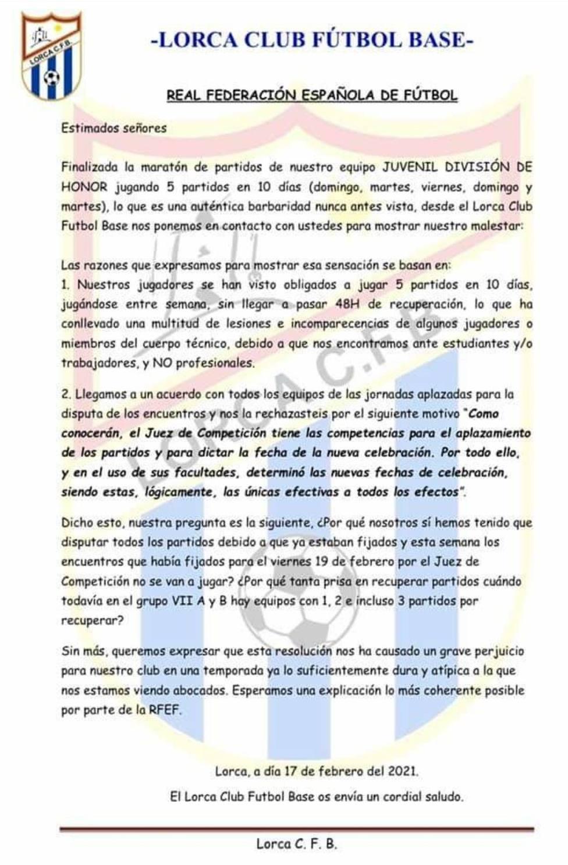 El Lorca CF Base remite una carta de enfado a la RFEF