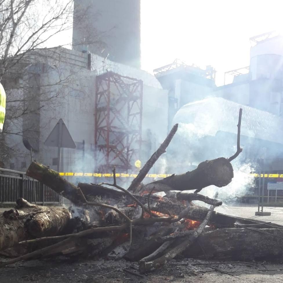 Leña ardiendo ante la entrada de la central térmica de Endesa en As Pontes - FOTO: Cedida