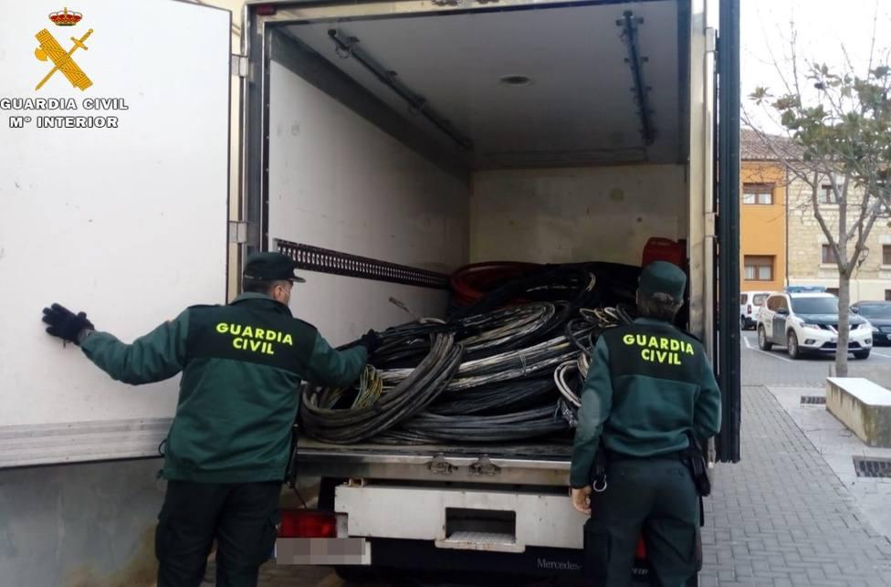 La Guardia Civil detiene a dos personas en Palencia por un supuesto delito de robo de cable de cobre