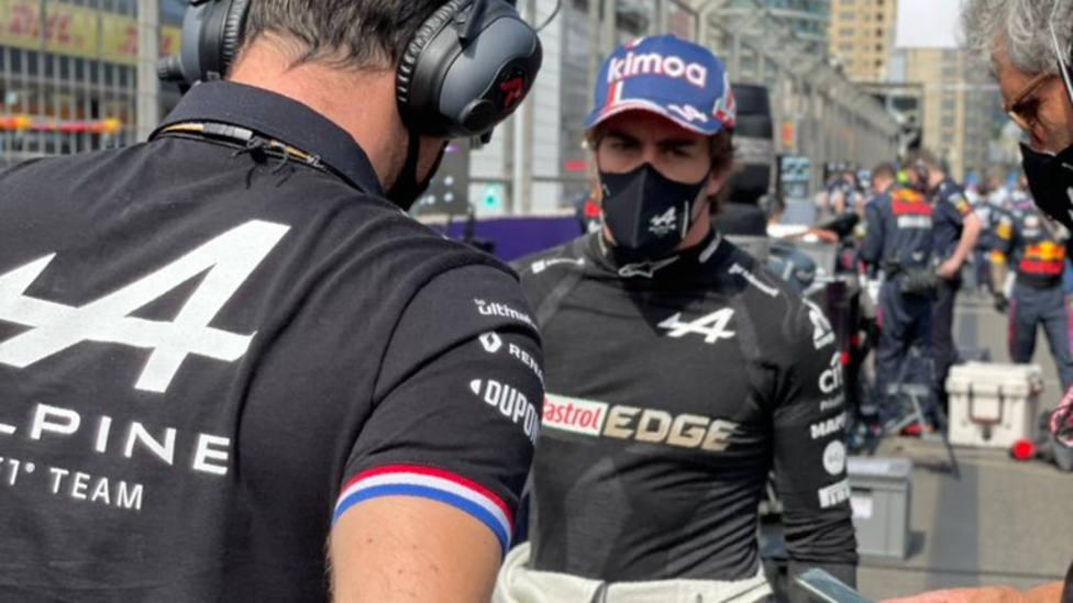 Fernando Alonso, durante el GP de Bakú