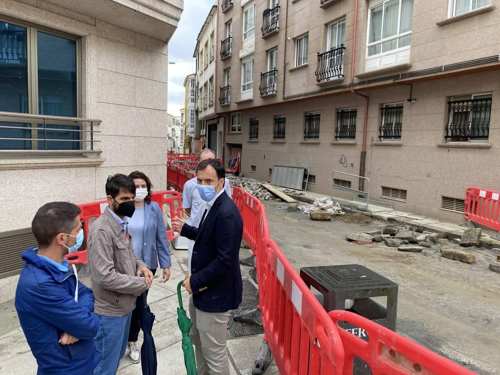Obras en la calle Espartero, ubicada en Ferrol Vello. FOTO: concello Ferrol