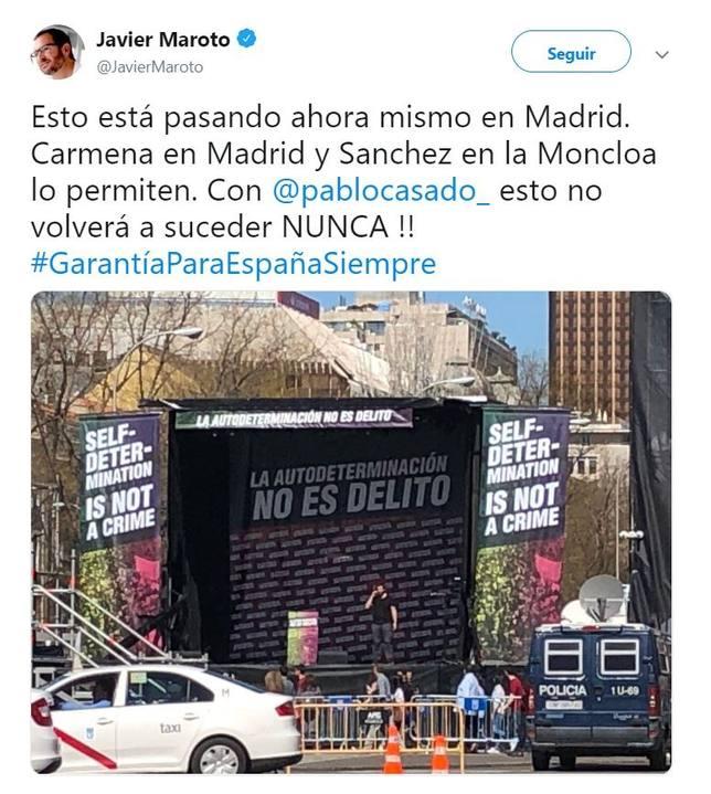 Maroto culpa a Sánchez y Carmena de permitir la manifestación independentista: Con Casado no volverá a suceder