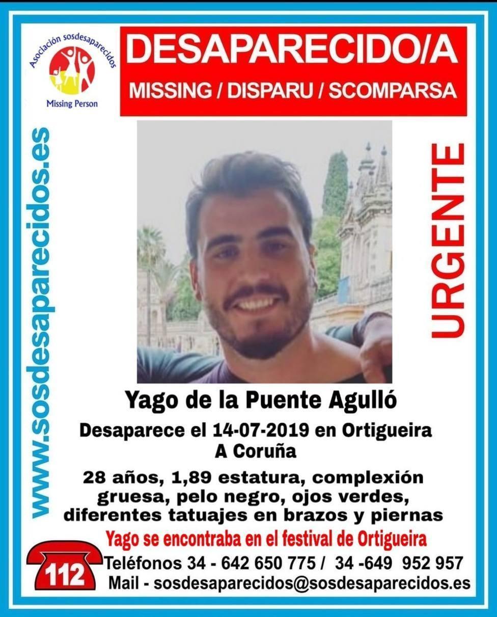 Cartel del desaparecido Yago de la Puente Agulló