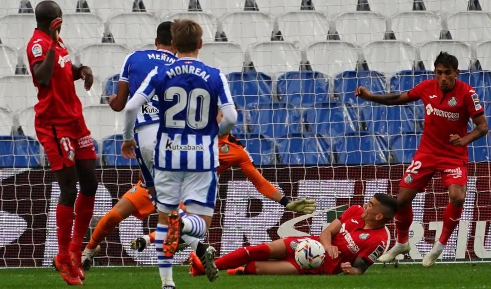 Momento del partido entre la Real Sociedad y el Getafe