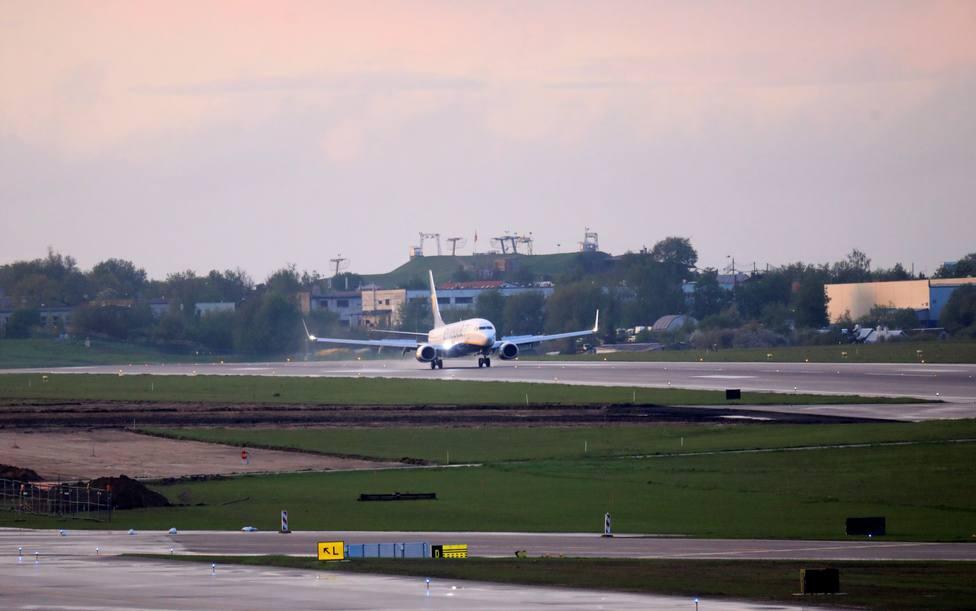 El avión de Ryanair, desviado a Bielorrusia, aterrizando en el aeropuerto de MInsk