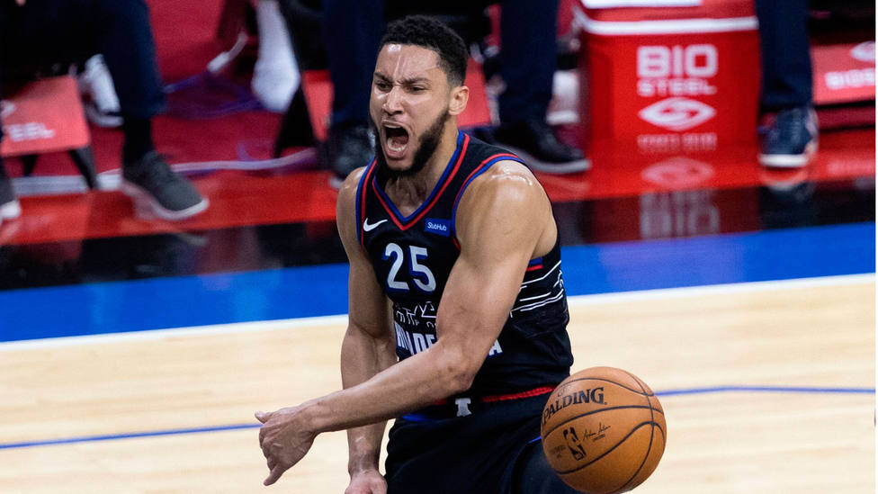 Ben Simmons reacciona durante el segundo partido de la serie entre los Sixers y los Wizards. CORDONPRESS