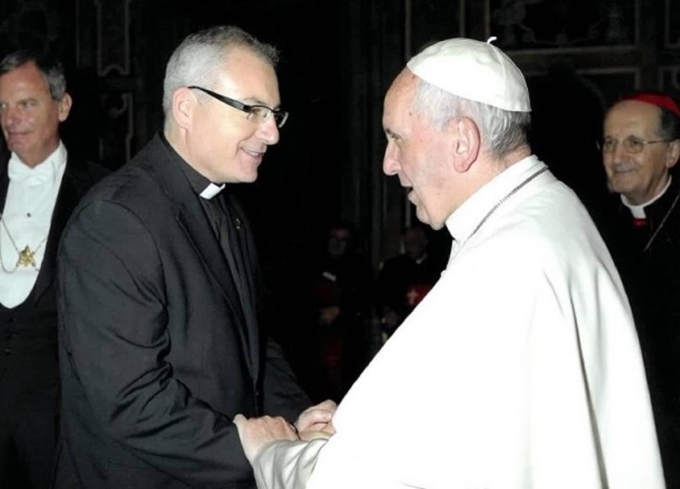 Sebastián Chico con el Papa Francisco