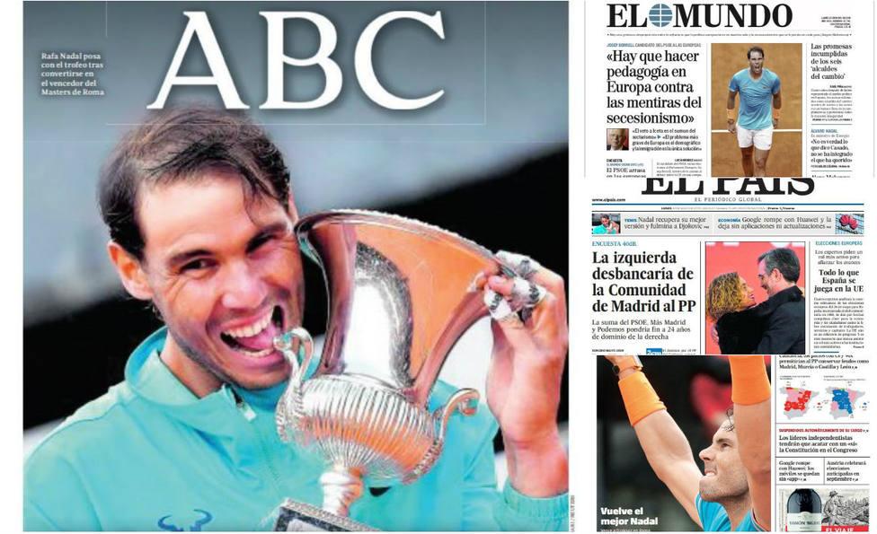 El regreso del mejor Rafa Nadal copa las portadas de la prensa nacional