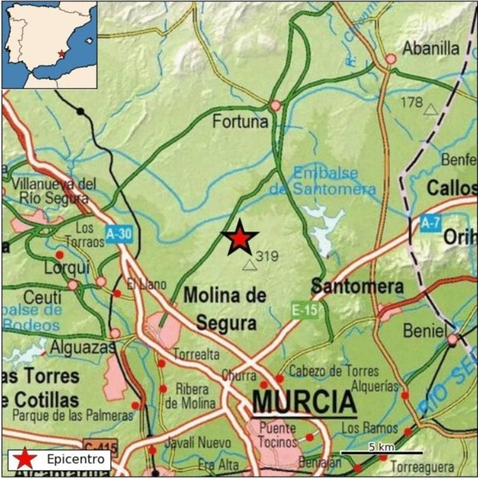 Molina de Segura registra un terremoto de magnitud 2,4 con epicentro en el cauce del río Guadalentín