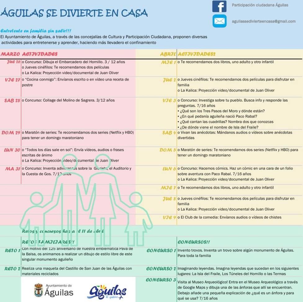 """Las Concejalías de Participación Ciudadana y Cultura presentan el proyecto """"Águilas se divierte en casa"""""""