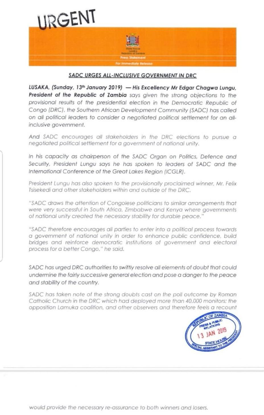 Los estados sudafricanos recomiendan a las autoridades congoleñas que se planteen un Gobierno de unidad