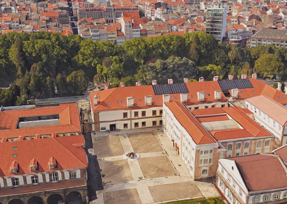 Vista aérea del Edificio de Herrerias, sede de Exponav