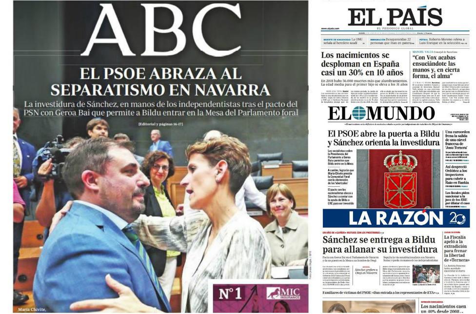 Sánchez perfila su investidura con cesiones a nacionalistas y proetarras en Navara, en las portadas