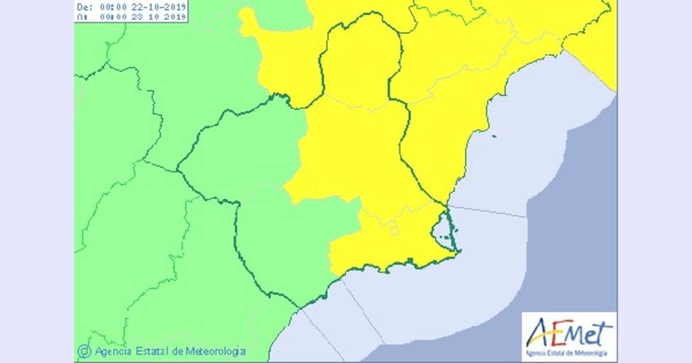 Lluvias persistentes en Murcia a partir de esta tarde y una fuerte caída de las máximas a valores invernales