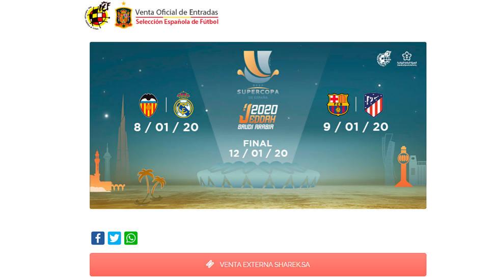 Canal de venta online de entradas para la Supercopa de España (vía RFEF)